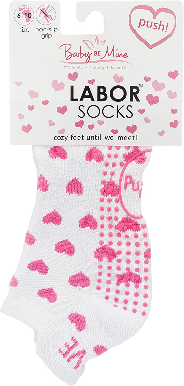 Best Baby Shower Gift Labor Delivery Push Hospital Non Skid Heart Socks by Baby Be Mine Maternity