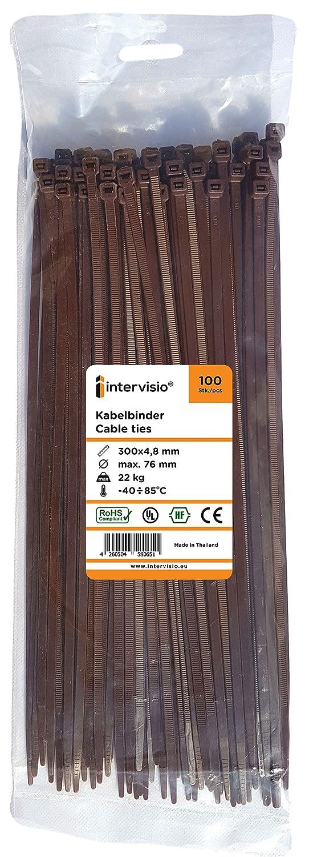 100 Piezas de Colores Marrones intervisio Bridas de Plastico para Cables 200mm x 3,6mm Color Marr/ón