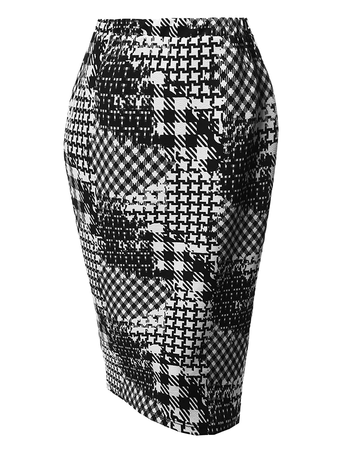 Aawskm0001 Black White 2 Awesome21 Women's Fitted Stretch Solid Print High Waist Midi Pencil Skirt  Made in USA