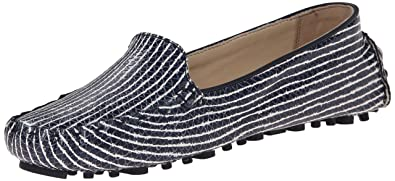 Cole Haan Women's Cary Venetian Moccasin,Blazer Blue/Optic White Snake  Print,5