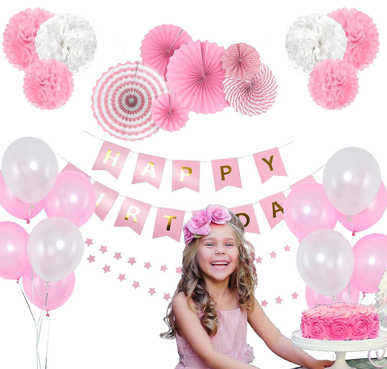 Happy Birthday Flag Banner Star Paper Garland AruzatStudio Pink Birthday Party Decoration Set Colorful Balloons /& Tissue Pompoms 27-Piece Girls Birthday Party Decor Supply Kit Pink Paper Fans