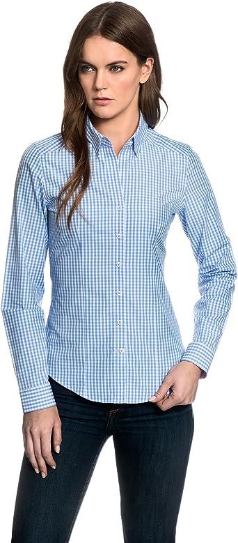 EMBRÆR - Camisas - cuello mao - para mujer Azul Hielo 40: Amazon.es: Ropa y accesorios