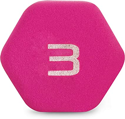 Cap Barbell Neoprene Coated Dumbbell Weights 3 Pound Neon Pink Single NEW Hex