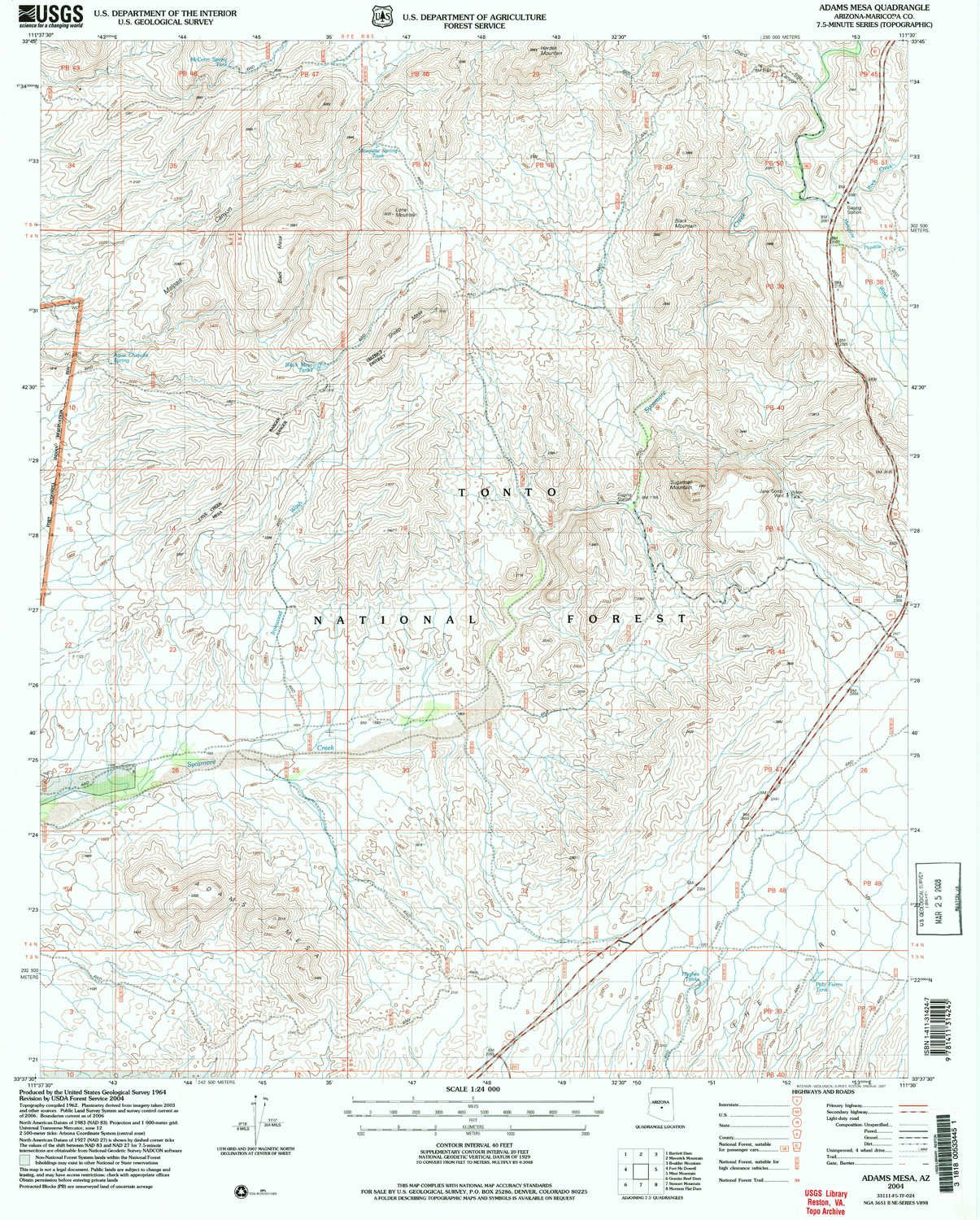Amazon.com : YellowMaps Adams Mesa AZ topo map, 1:24000 Scale, 7.5 X ...