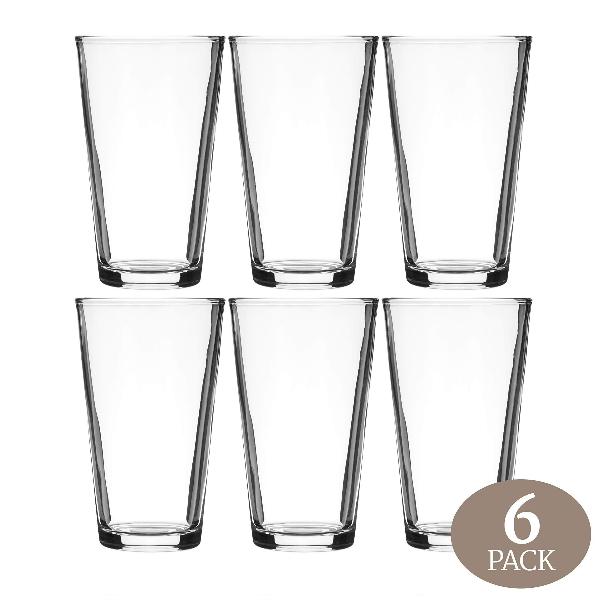 Element Drinkware Beer Pint Glass 16 Ounce - Versatile Cocktail Shaker Glass - Perfect for the Pub, Home Bar, or Everyday Use - Ultra Clear Strong Rim Tempered Mixing Glass - Pack of 6