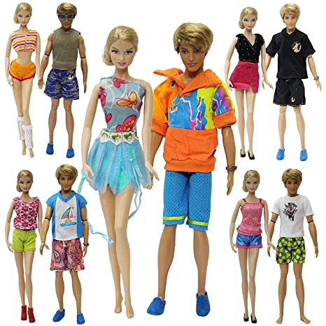 ZITA ELEMENT Vacanze Abiti Bambole 15 items  5 Moda Estiva Breve Vestiti  Costume + 5 Paia di Scarpe Per Barbie ... 6635459cd91