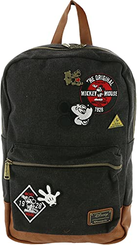 Loungefly Mickey Mouse Patches Denim Backpack One, Black-multi, Size No Size