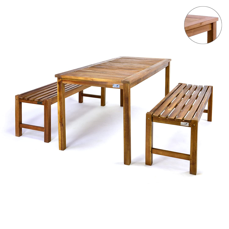 Amazon.de: Divero Gartenmöbelset Picknickset Akazienholz Bank Tisch ...