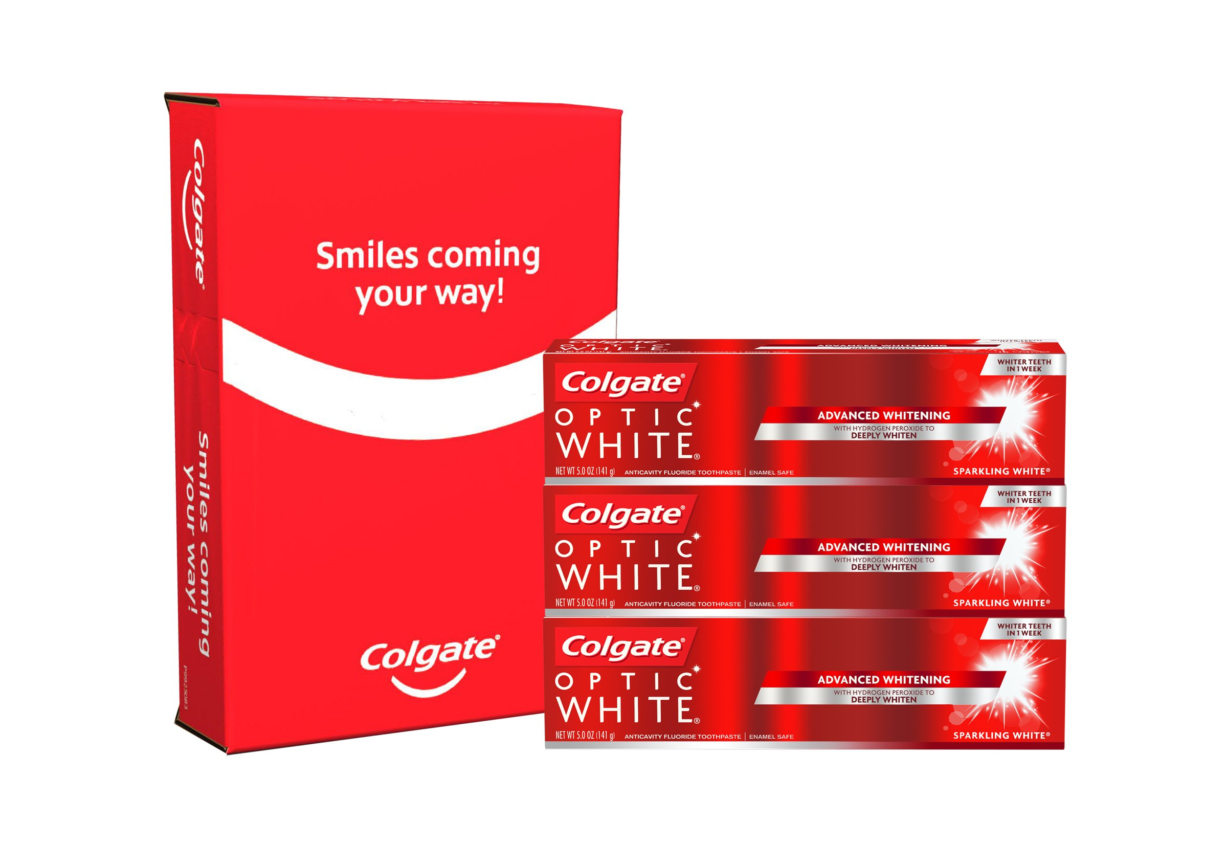 Colgate Optic White Whitening Toothpaste, Sparkling Mint, 5 Ounce, 3 Count by Colgate (Image #3)