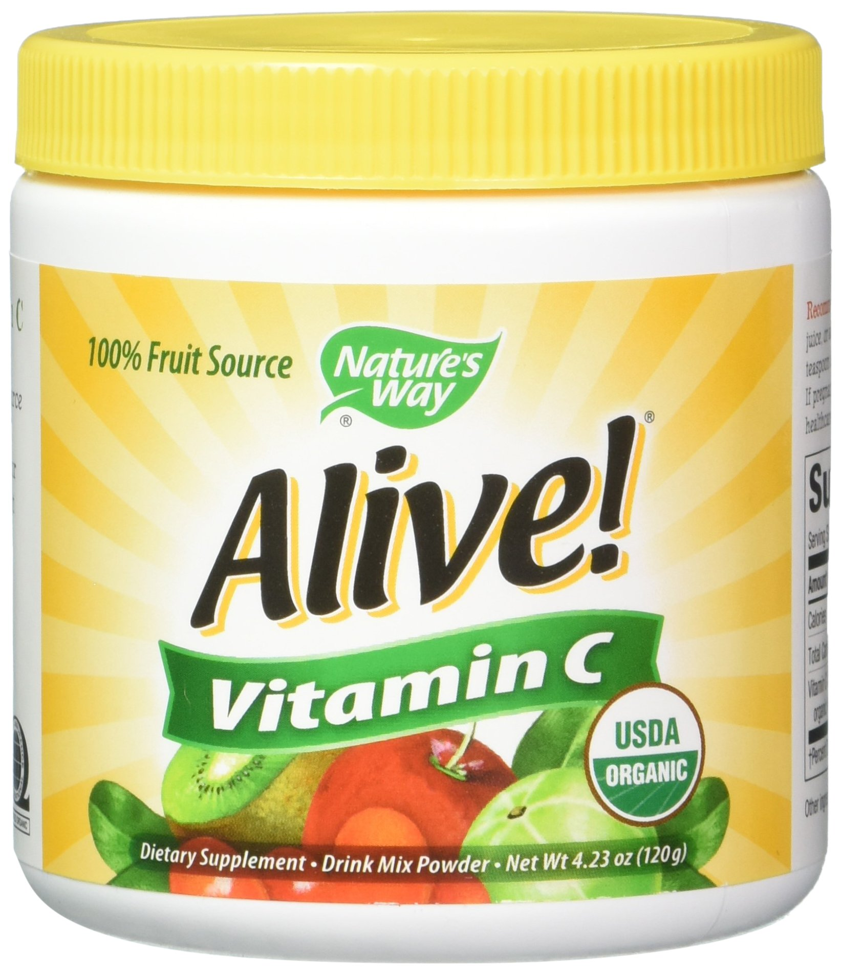 Nature's Way Alive! Vitamin C Powder, USDA Organic, 100% from Acerola, Kiwi, Lycium (Goji) Amla, Vegetarian, 4.23 Ounce, Pack of 2