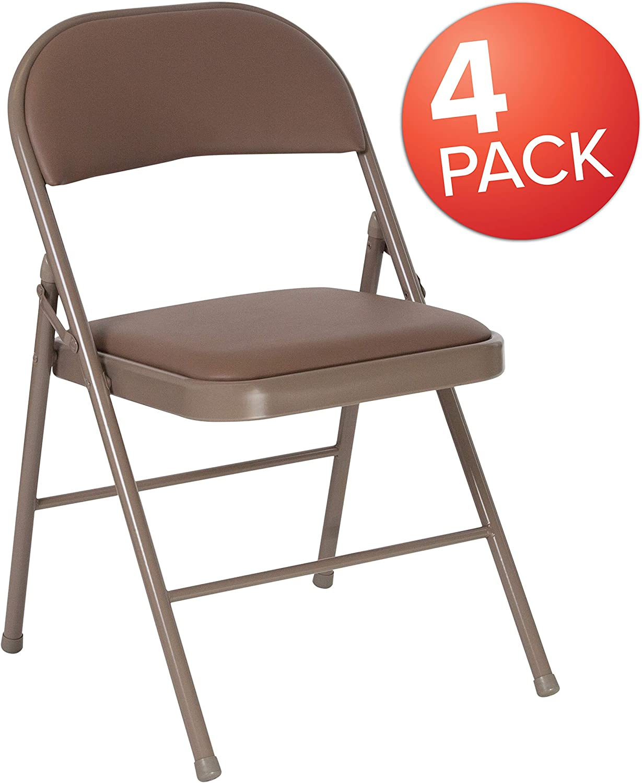 Flash Furniture 4 Pk. HERCULES Series Double Braced Beige Vinyl Folding Chair