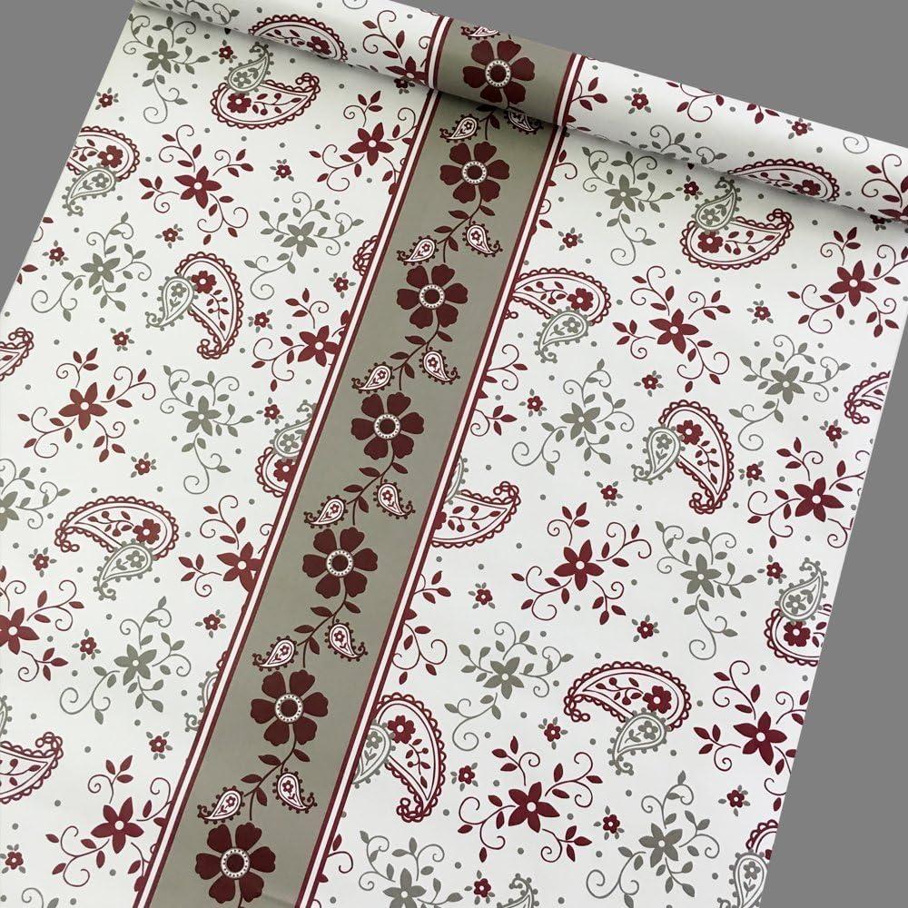 Yifely Red-Gray Flower Self-Adhesive Shelf Drawer Liner Moisture Proof Shower Storage Locker Decor PVC Paper 45x300cm