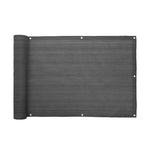 SONGMICS Balkonbespannung Balkonverkleidung Sichtschutz ohne Schrauben aus HDPE 75 x 600 cm anthrazit GBC75GY