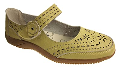 781985bf774ad0 LADIES LEATHER WIDE CASUAL COMFORT MARY JANE FLAT SHOES SANDALS (4 ...