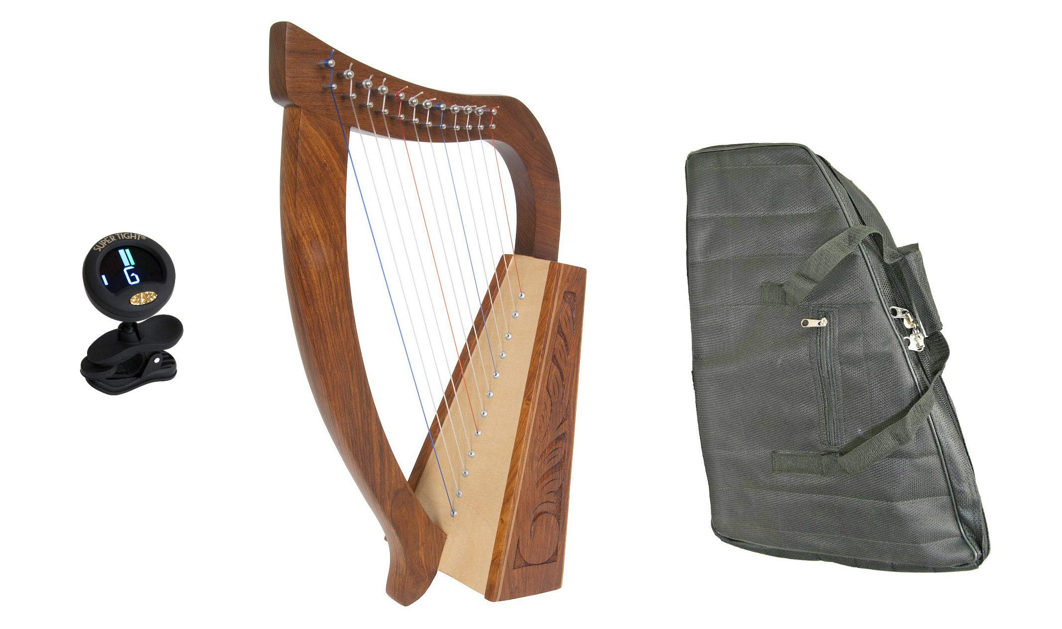 Baby Celtic Harp Package Includes: Baby Celtic Harp - Birch + New Baby Harp Nylon Carry Case Bag & Clip-on Chromatic Tuner