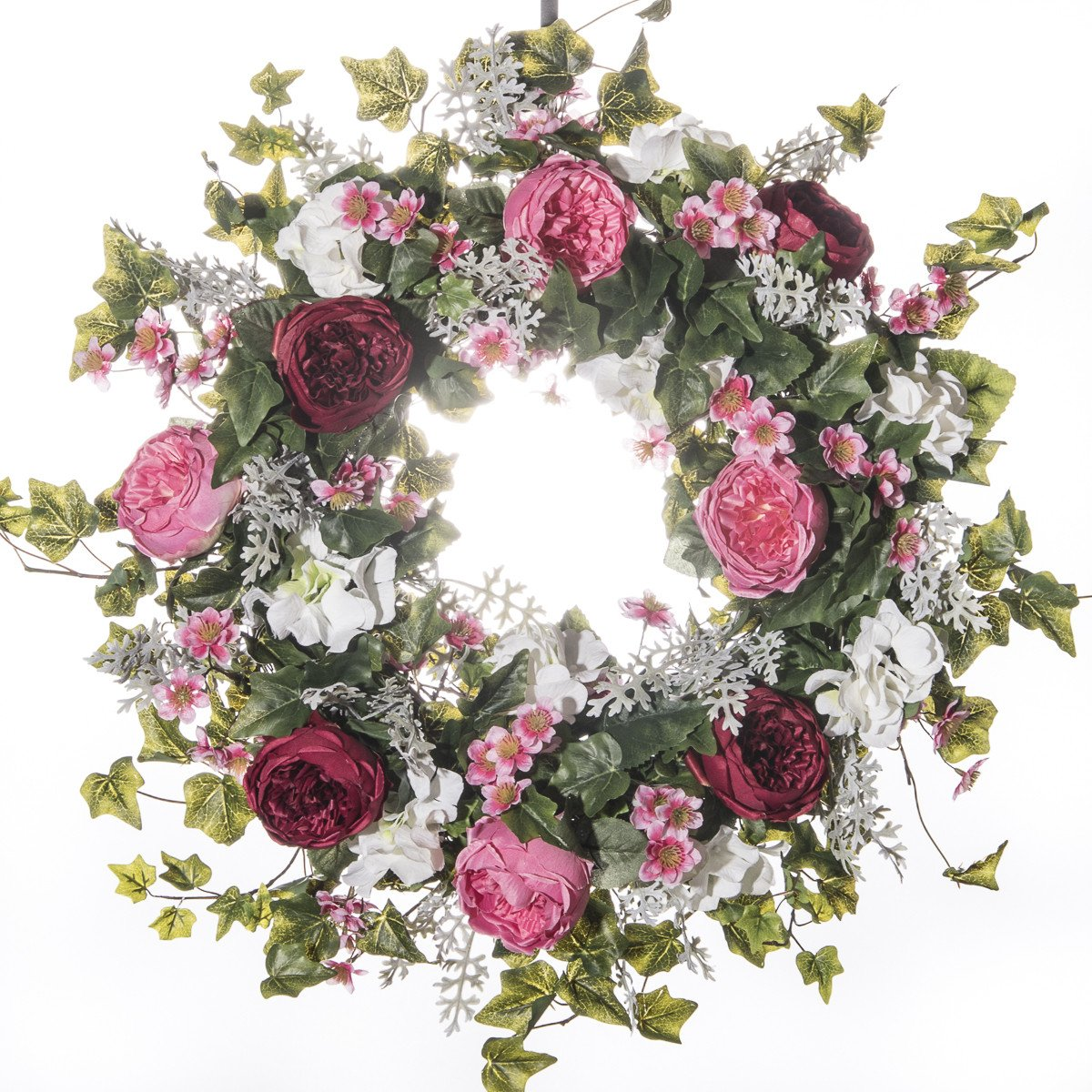 Pink Burgundy Cabbage Rose Wreath (SW710) - Everyday Wreath (30 inch)