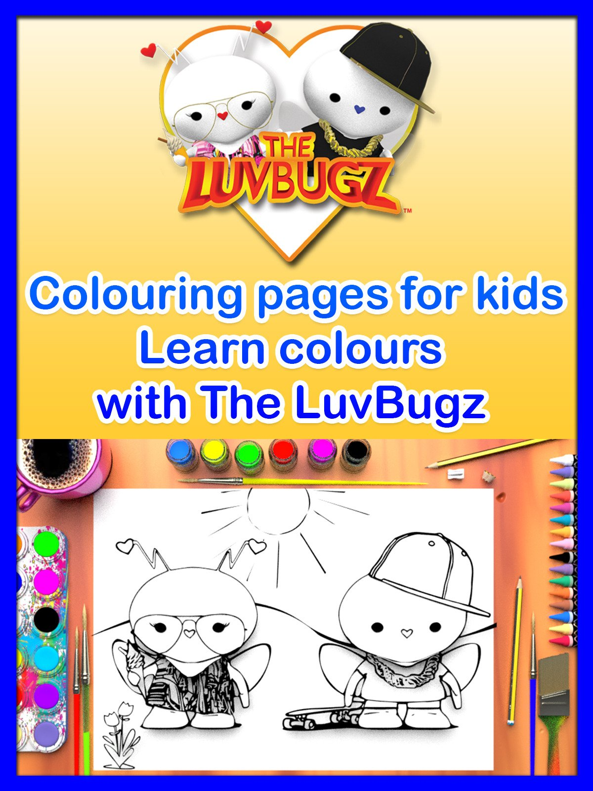 Colouring pages for kids, Learn Colours with The LuvBugz