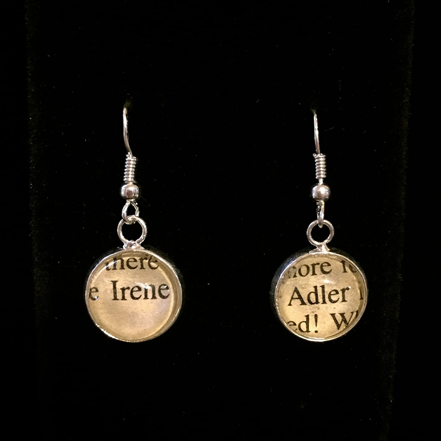 Sherlock Holmes Irene Adler Earrings with Sterling Silver Hooks