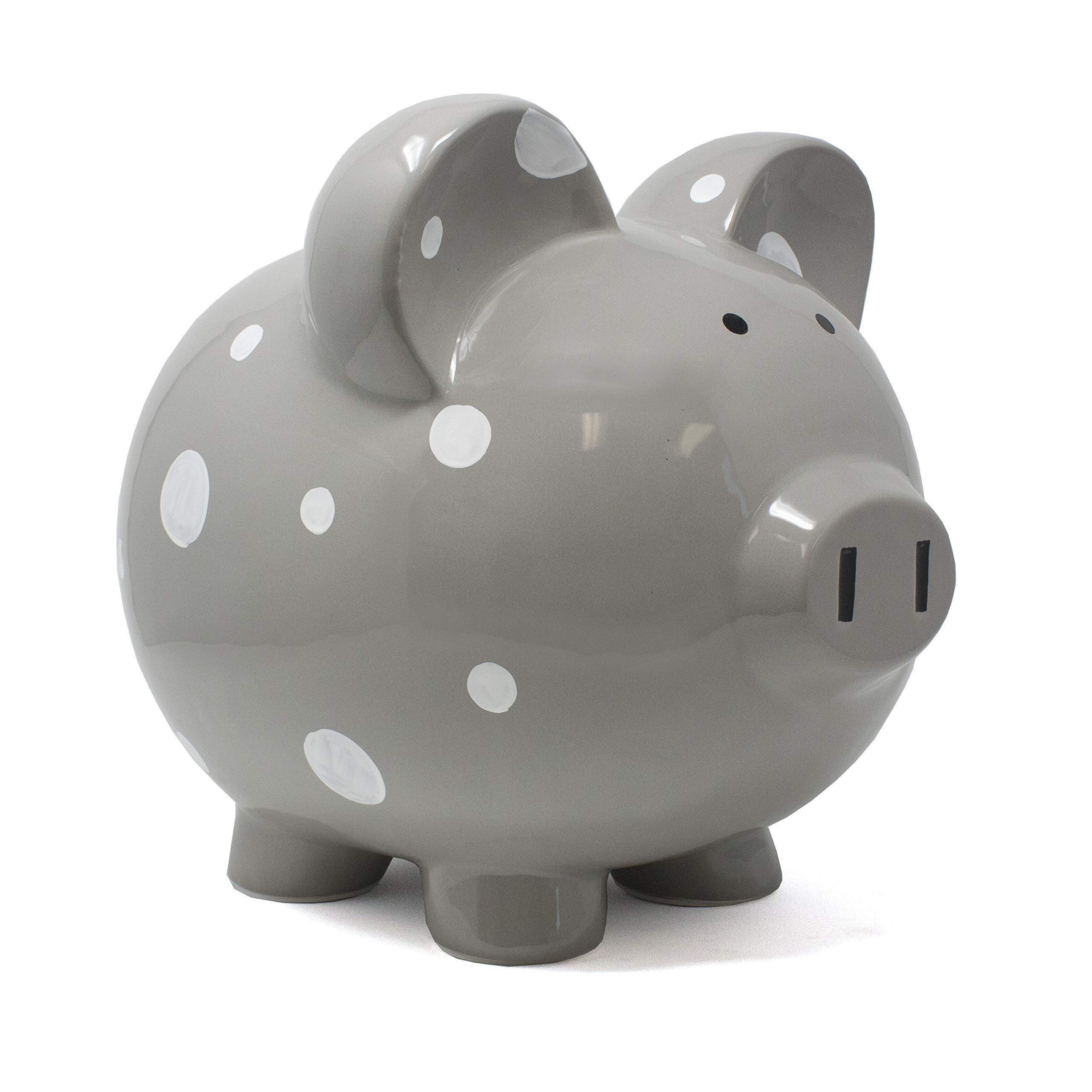 Child to Cherish Large Ceramic Boss Piggy Bank, Gray Polka Dot