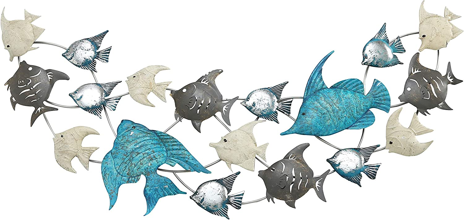 WHW Whole House Worlds Modernist School of 18 Fish Wall Art, Crescent, Vivid Blue with Shimmery Silver, Muted Grey and Beige Paint, Iron, 5 Feet Wide (2.75 L x 59 W x 31.5 H Inches) Home Wall Decor