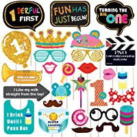 WOBBOX Hand Made First Birthday Party Props – Suitable for 1st Birthday His or Hers Birthday Celebration Photo Booth Props for Birthday . 28 Piece Kit