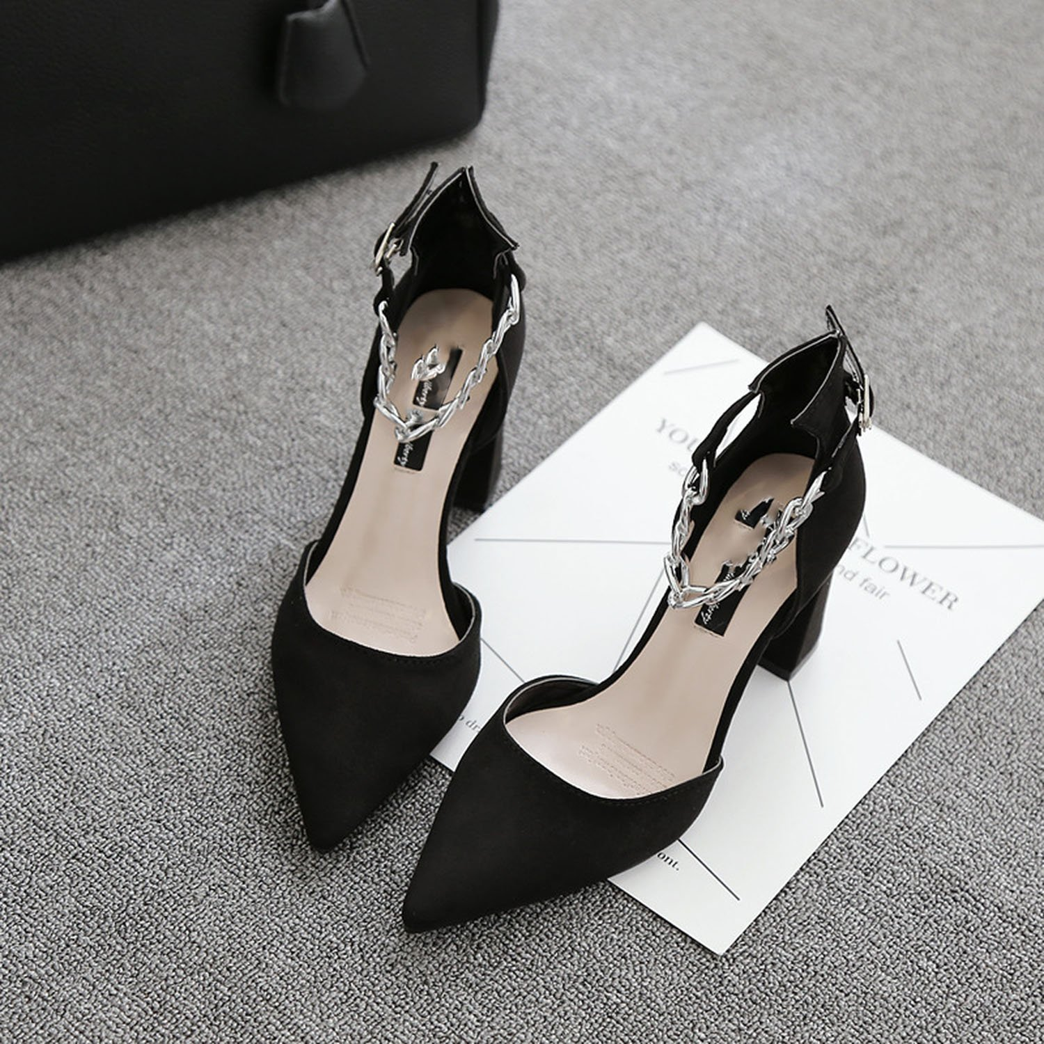 Special-Shop Womens Shoes Metal Chain Hollow tip Single Shoes Rough with high-Heeled Sandals Female