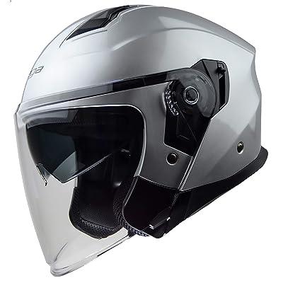 Vega Helmets Magna Open Face Motorcycle Helmet with Sunshield Unisex-Adult powersports (Silver, XS): Automotive