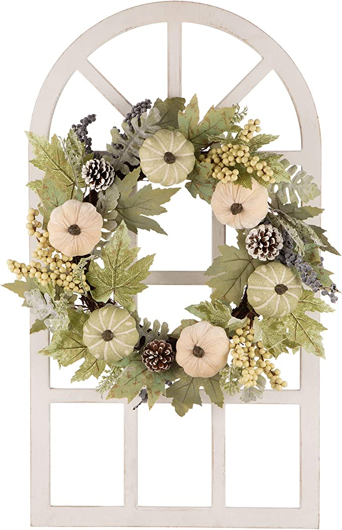 Glitzhome Pumpkin Pinecone & Berry Wreath with Wooden Window Frame Wall Decor Rustic Arch Frame for Fall Festival Decorations