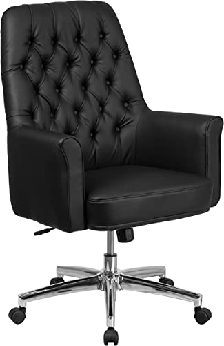 Flash Furniture Mid-Back Traditional Tufted Black LeatherSoft Executive Swivel Office Chair