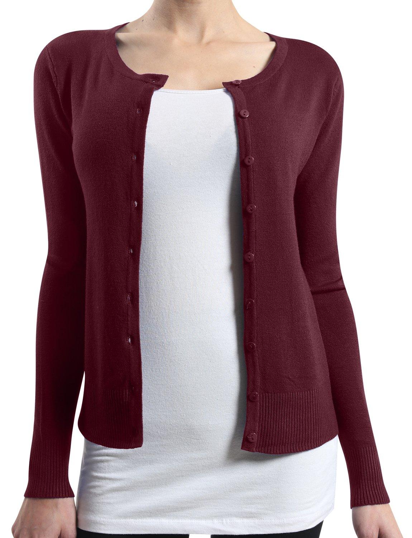 LE3NO Womens Basic Round Neck Fine Knit Cardigan  BURGUNDY X-Large