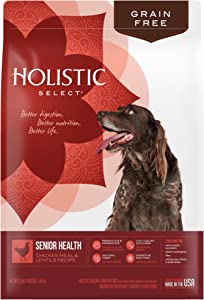 Holistic Select Natural Grain Free Dry Dog Food, Senior Chicken Meal & Lentil Recipe, 12-Pound bag