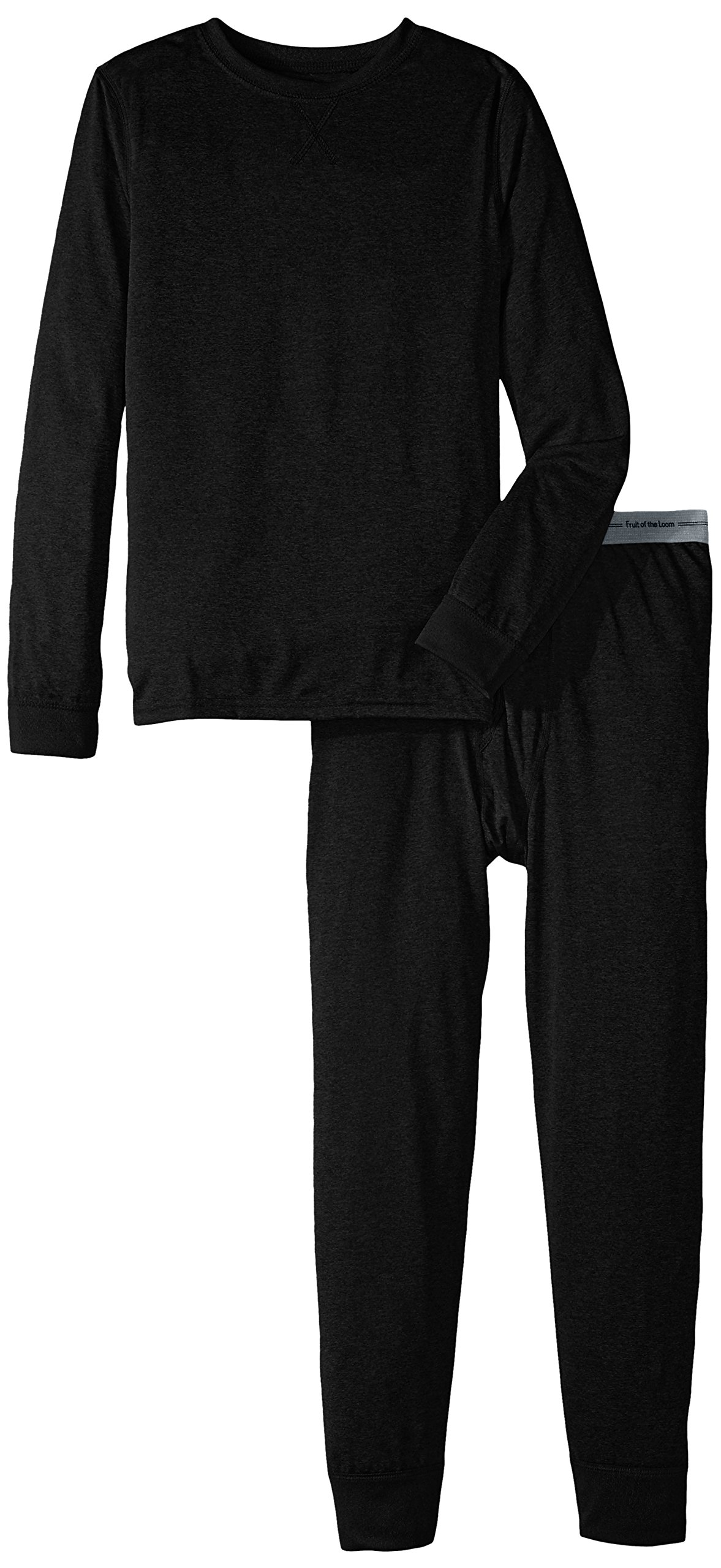 Fruit of the Loom Boys' Big Active Performance Thermal Underwear Set, Rich Black, 10/12