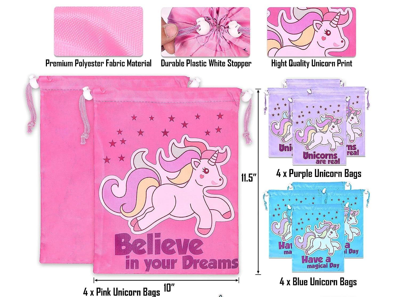 Amazon.com: Bolsas de fiesta con cordón de unicornio (12 ...