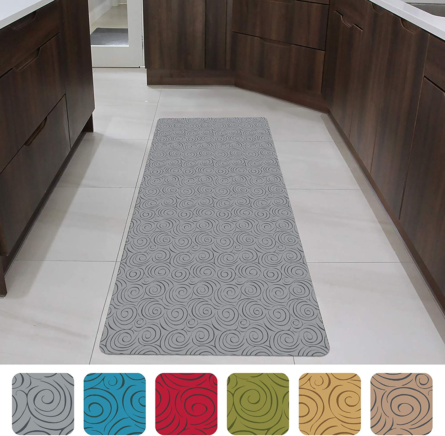 "Shape28 Runner Mat Ultra-Thin Kitchen Rug with Non Slip Rubber Backing 60x23"", Gray"