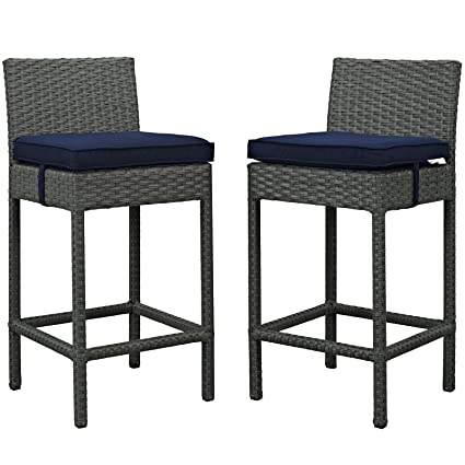 Modway Sojourn 2 Piece Outdoor Patio Bar Stools Pub Set With Sunbrella  Brand Navy Canvas Cushions