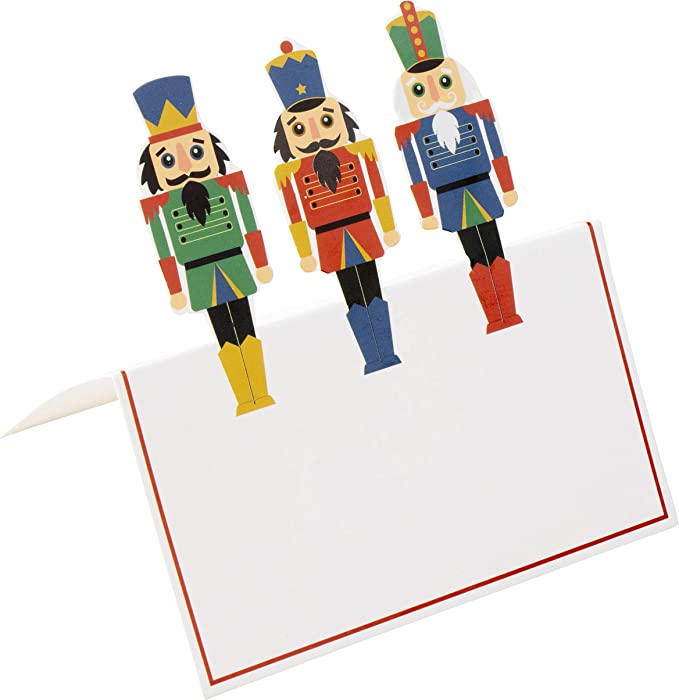 100 St/ück Papierzelt Karten mit Nussknacker Soldat gestanzt Design Urlaub festliche bunte Tischdekoration und Partyzubeh/ör 5,1 x 8,9 cm Weihnachtstischkarten wei/ß