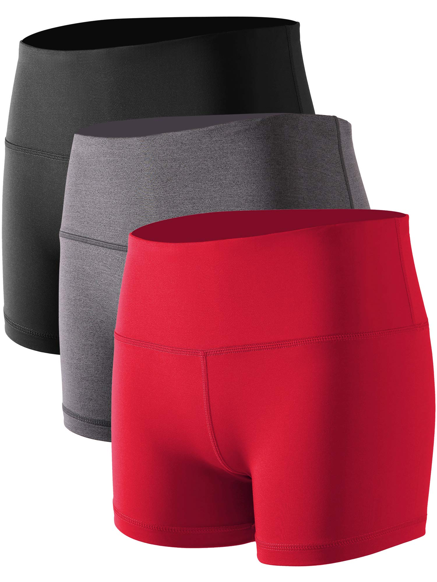 Cadmus Women's Stretch Fitness Running Shorts with Pocket,3 Pack,05,Black,Grey,Red,Small by Cadmus