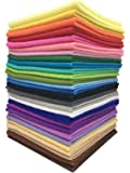 """Misscrafts 28pcs 8"""" x 12"""" (20cm x 30cm) 1.4mm Thick Soft Felt Nonwoven Fabric Sheet Pack DIY Craft Patchwork Sewing Square Assorted Colors with Thread Bag"""