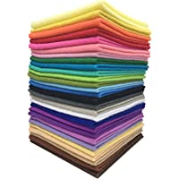 Misscrafts 28pcs 6 inches - 12 inches 1.4mm Thick Soft Felt Nonwoven Fabric Sheet Pack DIY Craft Patchwork Sewing Square Assorted Colors