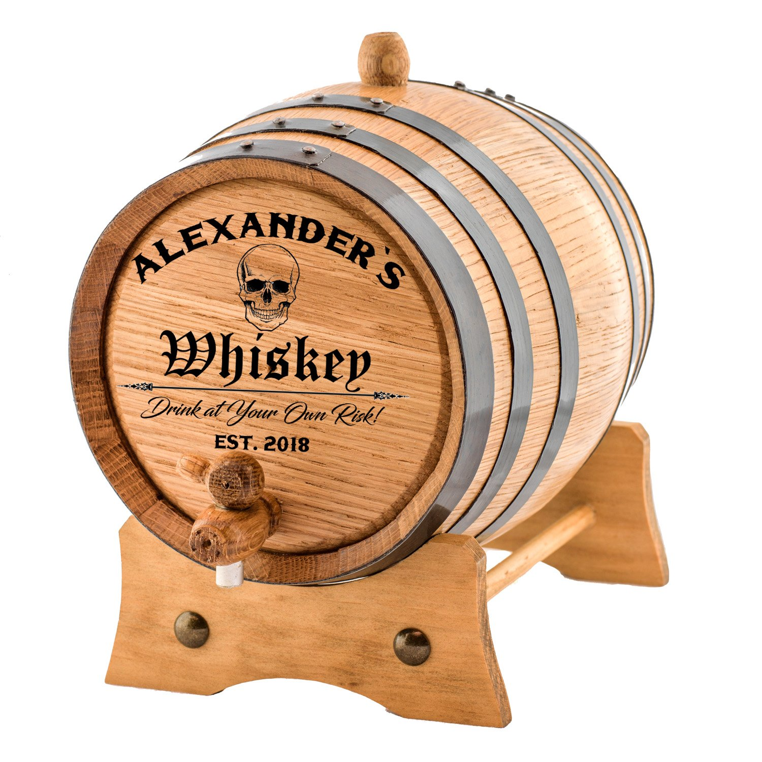 Personalized - Custom American White Oak Aging Barrel | Age your own Whiskey, Wine, Rum, Tequila, Beer, Bourbon & More. - Danger Design (10 Liters)