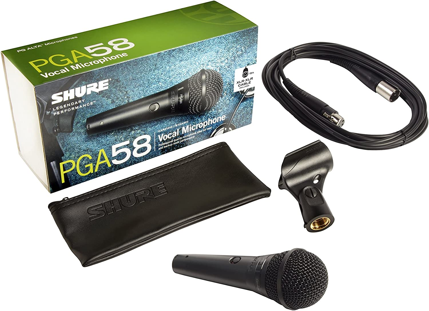 PGA58BTS Shure PG ALTA Caridoid Dynamic Vocal Microphone with XLR-XLR Cable and Tripod Stand