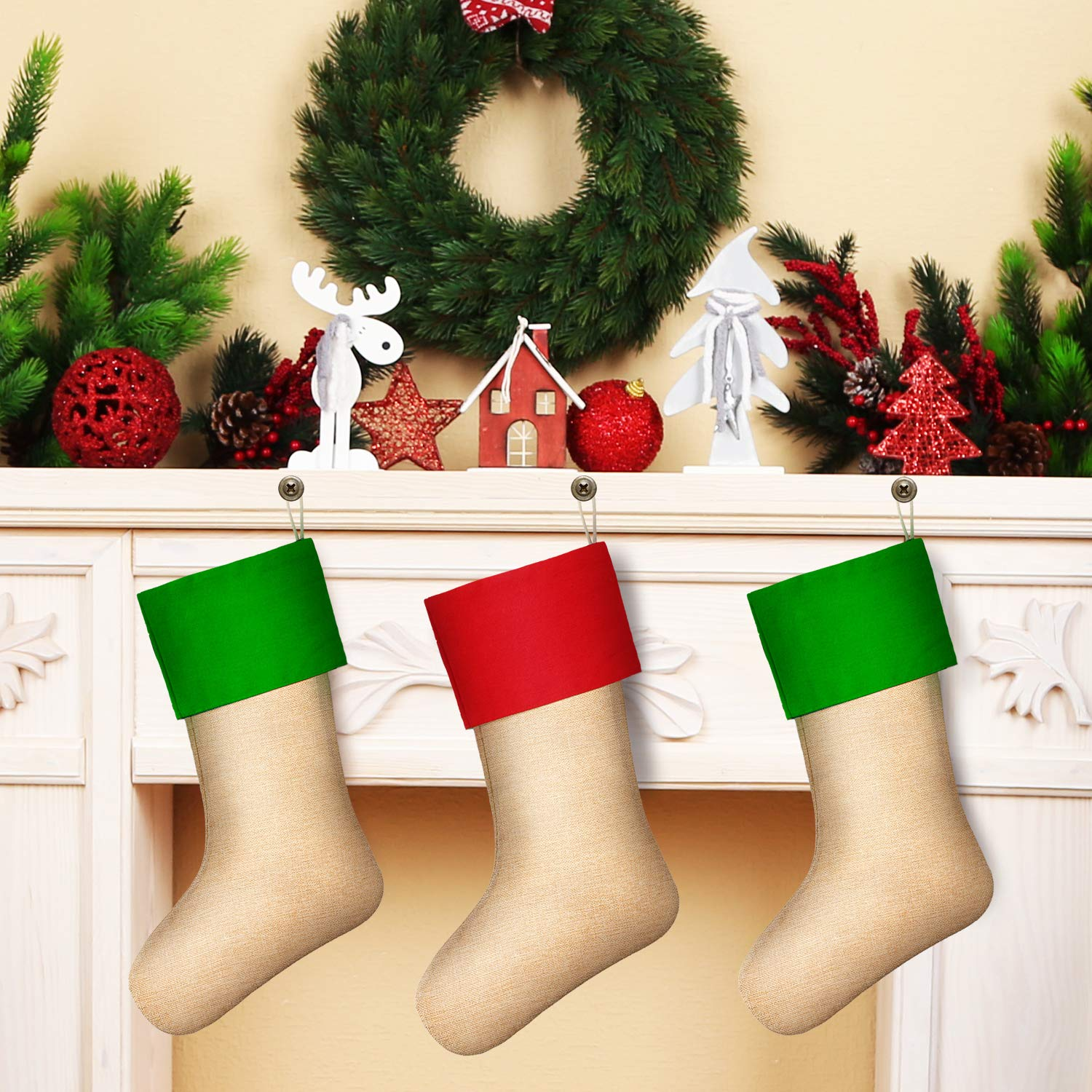 Sumind 6 Packs Burlap Christmas Stockings for Christmas Decorations or DIY Flaxen