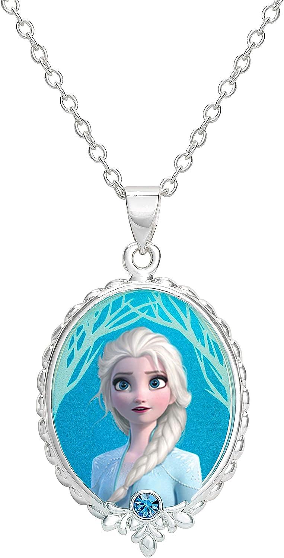 "Disney Frozen 2 Elsa Fine Silver Plated Pendant Necklace, 16 + 2"" Extender"