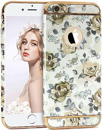 94efa6f1f8 IMIKOKO iPhone6ケース アイフォン6sカバー 花柄 3パーツ式 耐衝撃 おしゃれ かわいい 女性