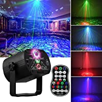 Fegishilly DJ Disco Stage Party Lights, LED Sound Activated Laser Light RGB Flash Strobe Projector with Remote Control…