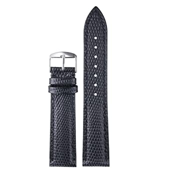 20mm Black Premium Cool Watch Straps Replacements Lizard-Grained Calf Leather Lightly Padded