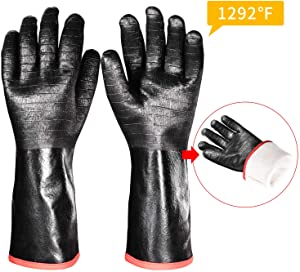 iHarbort long Protective Grill Gloves, 1 Pair, 1292℉ Heat Resistant BBQ Oven Gloves Fire&Oil Resistant Waterproof Kitchen Mitts Potholders For Cooking, Grill, Barbecue, Frying, Baking, 18 Inch / 45 cm