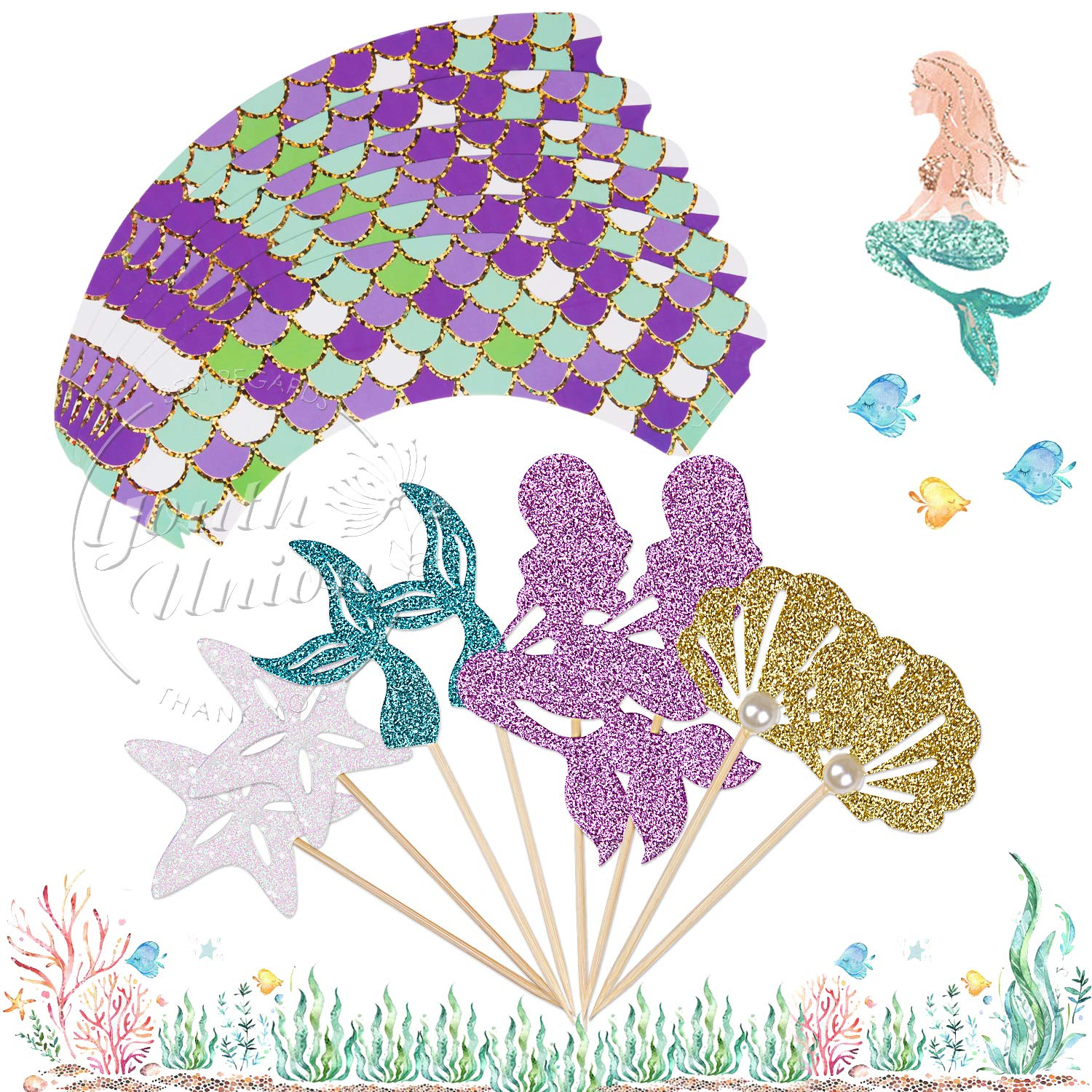 YOUTH UNION 48 Pack Mermaid Cupcake Toppers & Wrappers for Baby Shower Birthday Party...