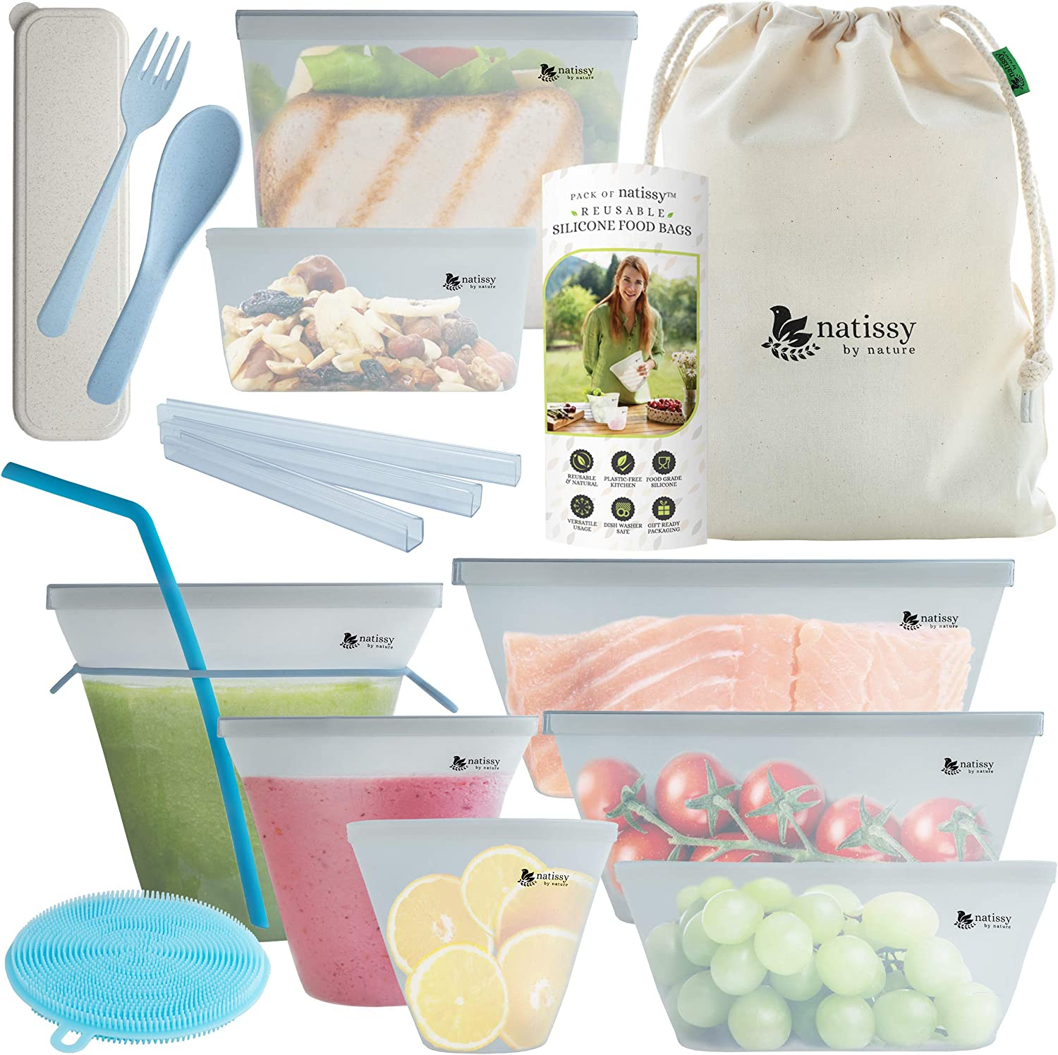 Reusable Silicone Food Storage Bag, 8-Pack Silicone Food Bags for Sandwich, Silicone Snack Pouch; Large & Small Silicon Freezer Baggies Dishwasher Safe; Thick Silicone Lunch Bag for Fridge & Sous Vide