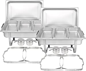TigerChef Chafing Dish Buffet Set - Chaffing Dishes Stainless Steel - 2 Chafer and Buffet Warmer Sets with Third Size Steam Pans and Folding Frame - Food Warmers for Parties Buffets